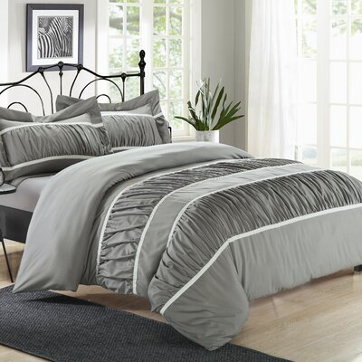Betsy�3 Piece Duvet Cover Set Color: Silver, Size: Queen