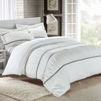 Betsy 7 Piece Duvet Cover Set Size: King, Color: White