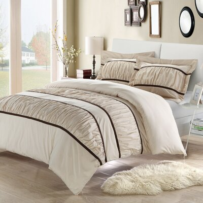 Betsy 7 Piece Duvet Cover Set Size: King, Color: Beige