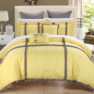 Legend 7 Piece Comforter Set Color: Yellow, Size: Queen