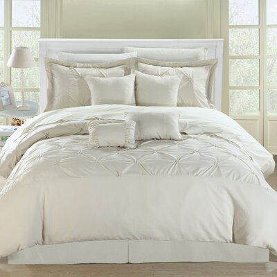 Charissa 8 Piece Comforter Set Color: Beige/Beige, Size: Queen