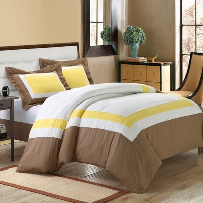 Normandy 7 Piece Duvet Cover Set Color: Yellow, Size: Queen