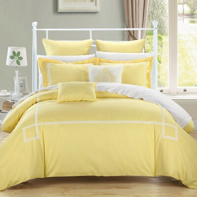 Woodford 7 Piece Comforter Set Color: Yellow, Size: Queen
