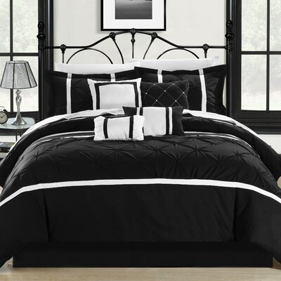 Charissa Glam 12 Piece Comforter Set Color: Black / White, Size: Queen