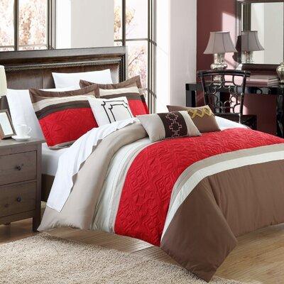 Corrine 10 Piece Comforter Set Size: King, Color: Brown