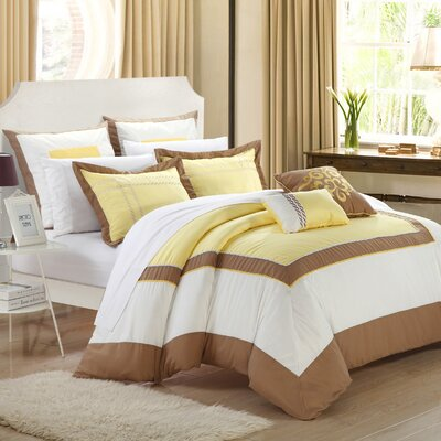 Ballroom 11 Piece Comforter Set Size: King, Color: Yellow/Brown/White