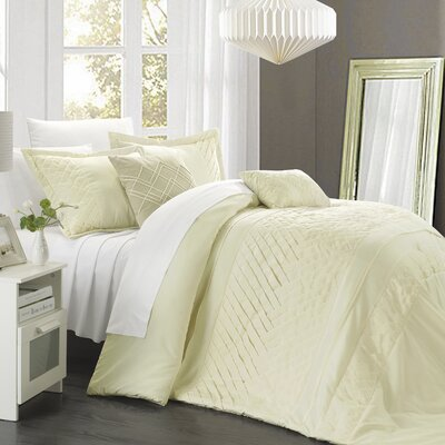 Carina 5 Piece Comforter Set Size: Queen, Color: Pale Celery