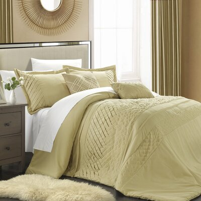Carina 5 Piece Comforter Set Color: Champagne, Size: Queen