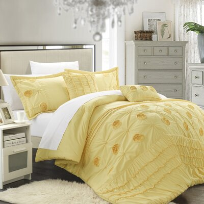 Florentina 5 Piece Comforter Set Size: Queen, Color: Yellow