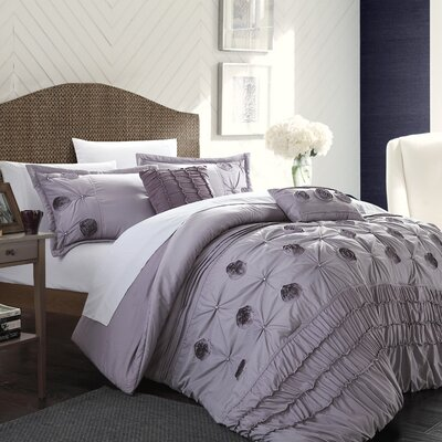 Florentina 5 Piece Comforter Set Size: King, Color: Plum
