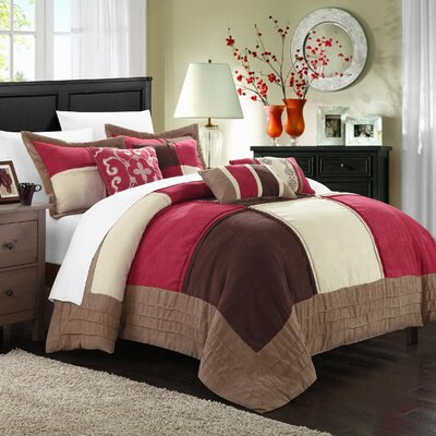 Lazio 11 Piece Comforter Set Color: Burgundy / Brown / Cream, Size: King