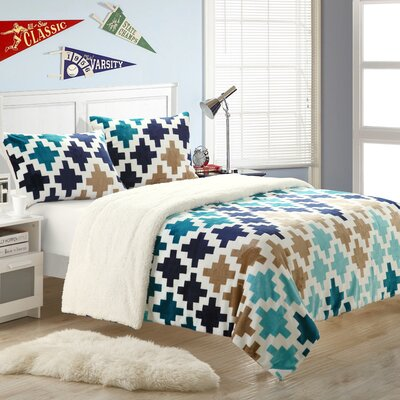 Mia 7 Piece Quilt Set Size: Queen, Color: Blue/Turquoise/Brown