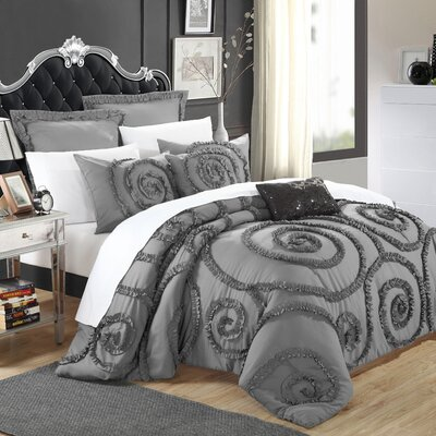 Rosalia 11 Piece Comforter Set Size: Queen, Color: Grey