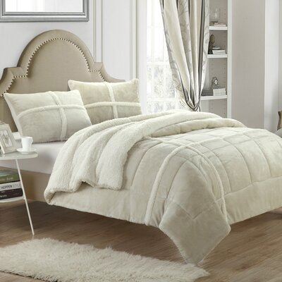 Chloe 7 Piece Comforter Set Size: King, Color: Beige