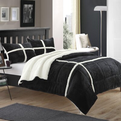 Chloe 7 Piece Comforter Set Size: King, Color: Black