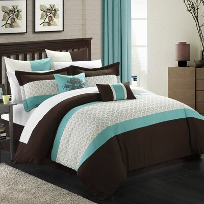 Lucca 12 Piece Comforter Set Size: Queen, Color: Brown