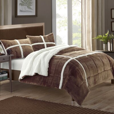 Chloe 7 Piece Comforter Set Size: Queen, Color: Brown