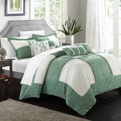Lazio 7 Piece Comforter Set Size: King, Color: Green / White