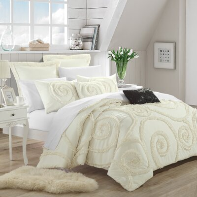 Rosalia 7 Piece Comforter Set Color: Beige / Cream, Size: Queen