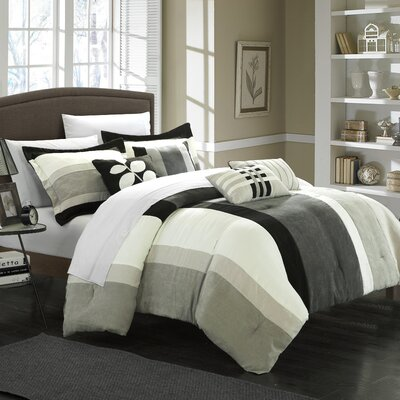 Highland 11 Piece Comforter Set Color: Black / Grey / Sage, Size: Queen