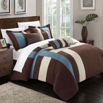 Regina 11 Piece Comforter Set Size: Queen, Color: Blue / Brown / Cream