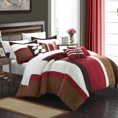 Highland 11 Piece Comforter Set Size: King, Color: Burgundy / Brown / Cream