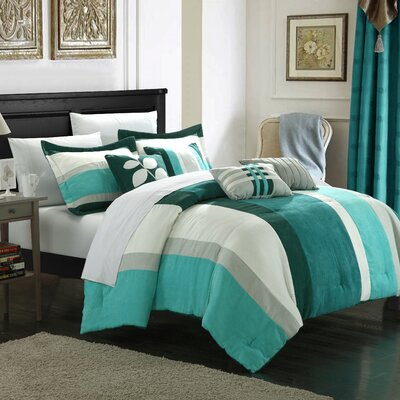 Highland 7 Piece Comforter Set Size: Queen, Color: Blue / Turquoise / Grey
