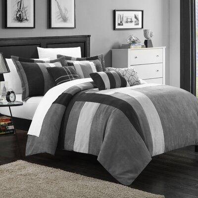 Regina 7 Piece Comforter Set Color: Black / Gray, Size: Queen