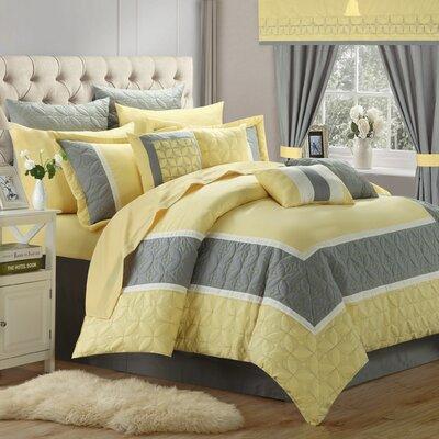 Aida Queen 24 Piece Comforter Set Color: Yellow