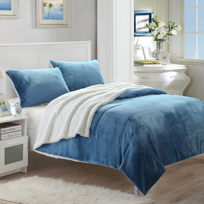 Evie 7 Piece Quilt Set Size: King, Color: Blue
