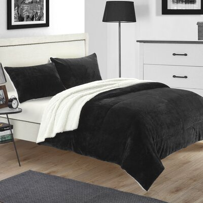 Evie 3 Piece Coverlet Set Color: Black, Size: King