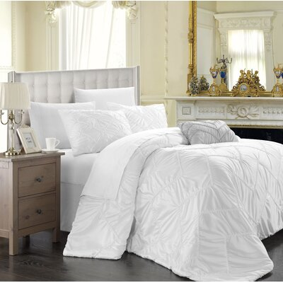 Aliza 4 Piece Duvet Cover Set Color: White, Size: King