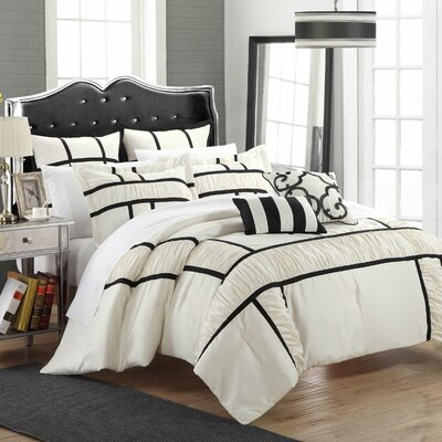 Tuscan 7 Piece Comforter Set Color: Black, Size: Queen