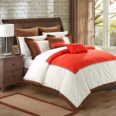 Greensville 7 Piece Comforter Set Size: Queen, Color: Red/White/Brown