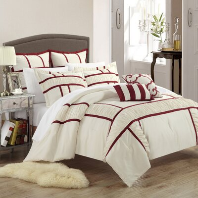Tuscan 7 Piece Comforter Set Color: Beige, Size: Queen