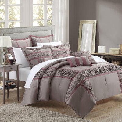 Tuscan 7 Piece Comforter Set Size: King, Color: Plum