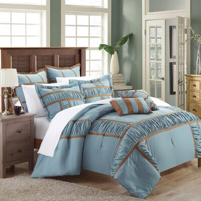 Tuscan 7 Piece Comforter Set Size: King, Color: Blue