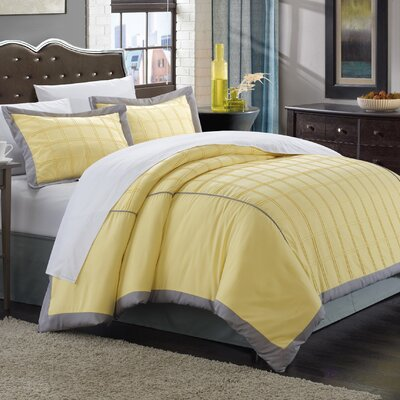 Angelina 3 Piece Duvet Cover Set Size: King, Color: Yellow