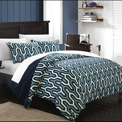 Elissa 3 Piece Reversible Duvet Cover Set Size: King, Color: Navy