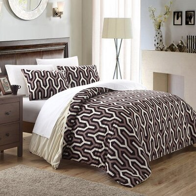 Elissa 3 Piece Reversible Duvet Cover Set Size: Queen, Color: Beige