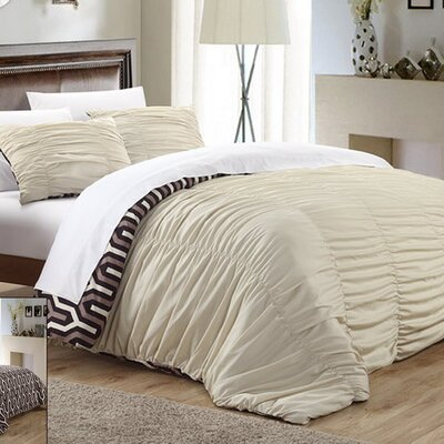 Elissa 7 Piece Reversible Duvet Cover Set Color: Beige, Size: Queen