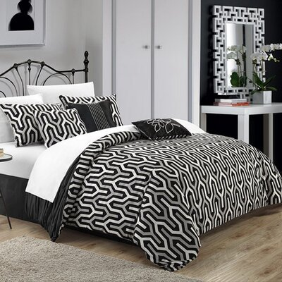 Lessie 7 Piece Reversible Comforter Set Size: Queen, Color: Black