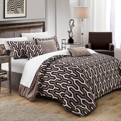 Lessie 7 Piece Reversible Comforter Set Size: King, Color: Brown
