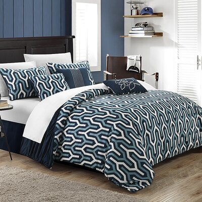 Lessie 7 Piece Reversible Comforter Set Size: Queen, Color: Navy