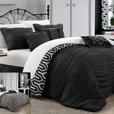 Lessie 11 Piece Reversible Comforter set Size: Queen, Color: Black