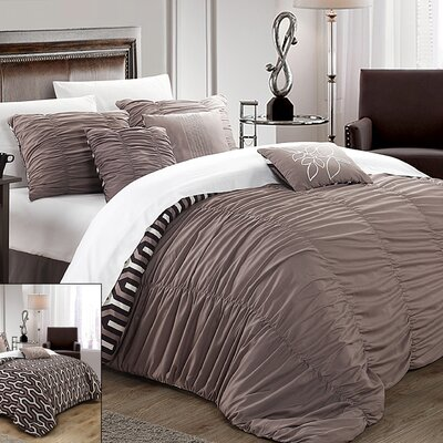 Lessie 11 Piece Reversible Comforter set Size: Queen, Color: Brown