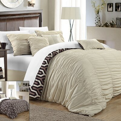 Lessie 7 Piece Reversible Comforter Set Size: Queen, Color: Beige