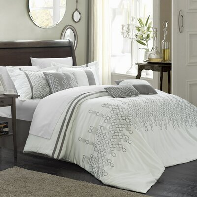 Lauren 12 Piece�Comforter set Size: King, Color: White