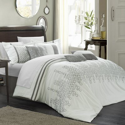 Michael 7 Piece Duvet Cover Set Size: King, Color: White
