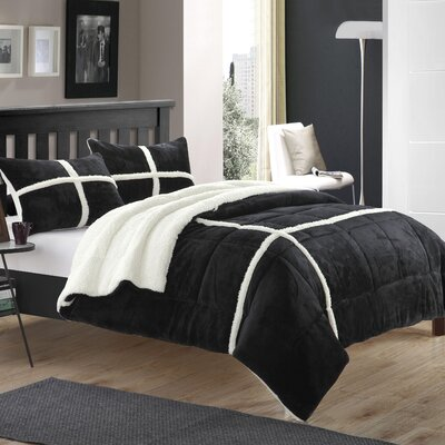 Chloe Sherpa Comforter Set Size: Twin XL, Color: Black